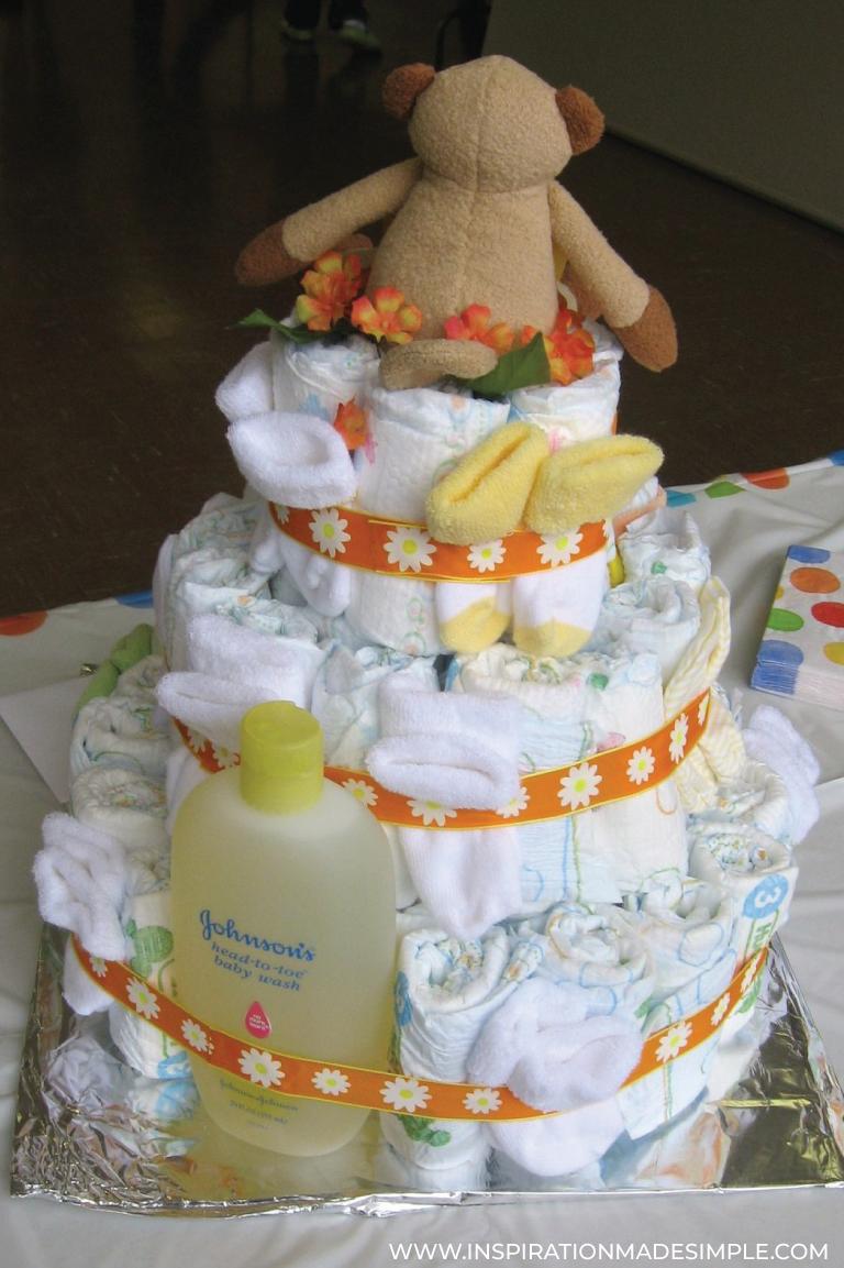 Monkey themed DIY Diaper Cake