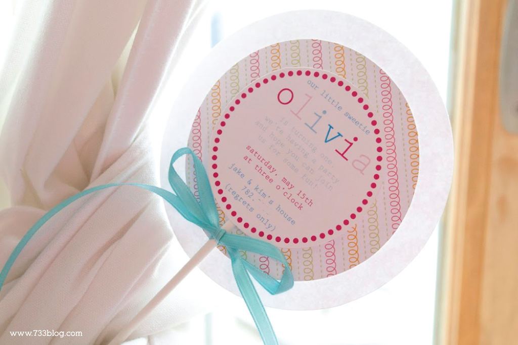 DIY Lollipop Birthday Invitations