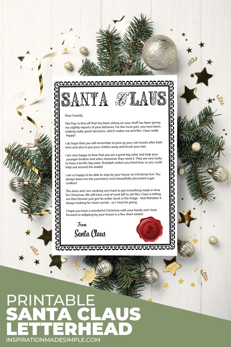 Official Santa Letterhead Printable