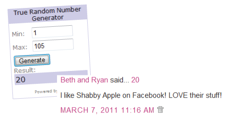 Shabby Apple Giveaway Winner!