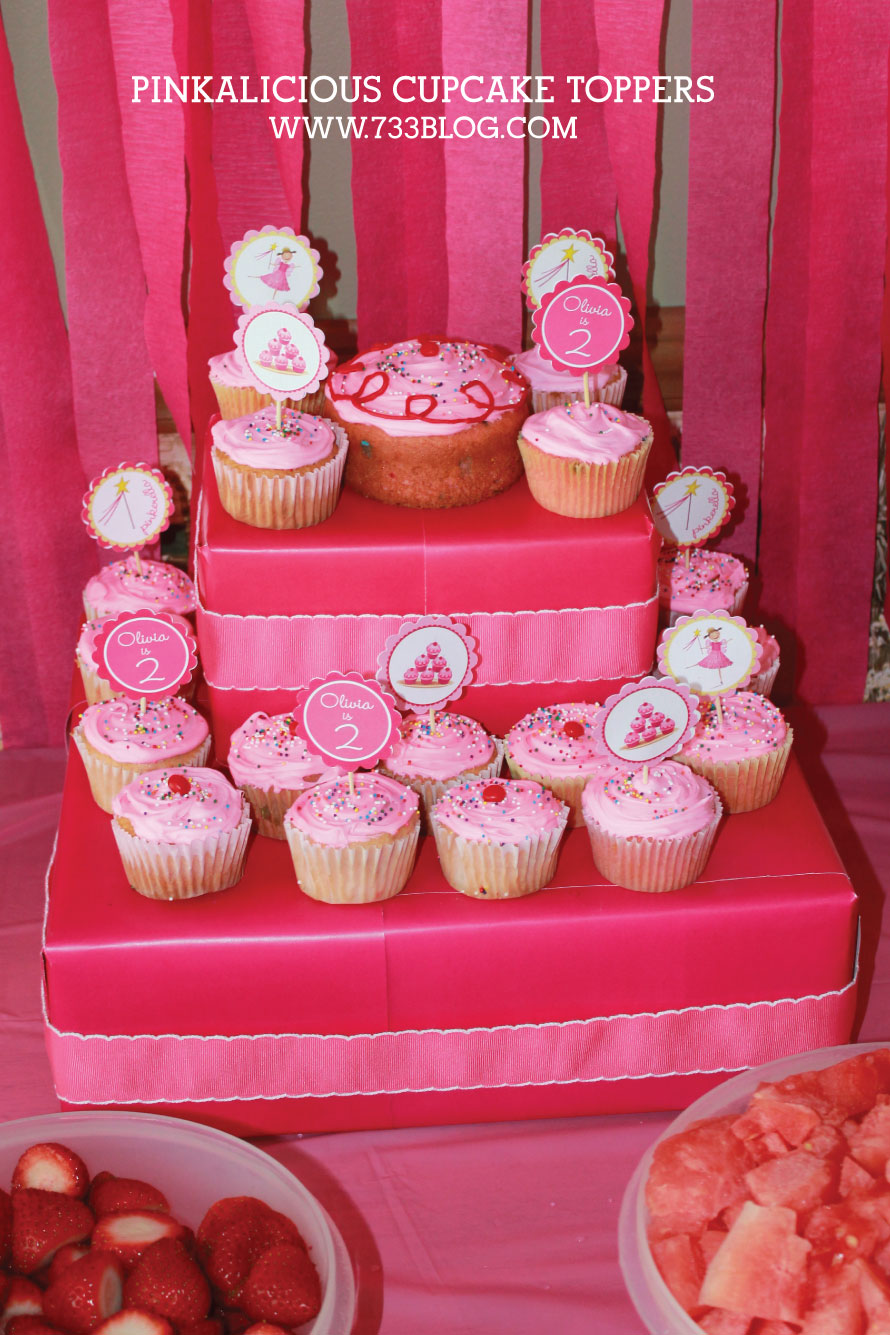 Pinkalicious Birthday Invites and Cupcake Toppers