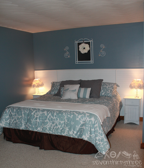 The New Color Is Mineral Alloy By Benjamin Moore My Nightstands Got A Coat Of White Paint As Did Mirror And Sconces That I Hung Above
