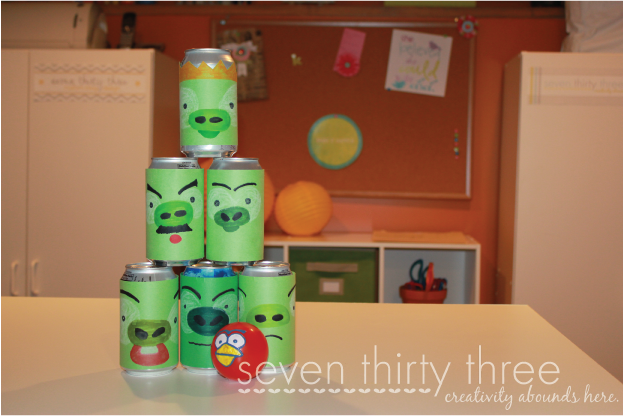 DIY Angry Birds Game - Use soda cans to make a fun knock down or bowling game that kids will love!