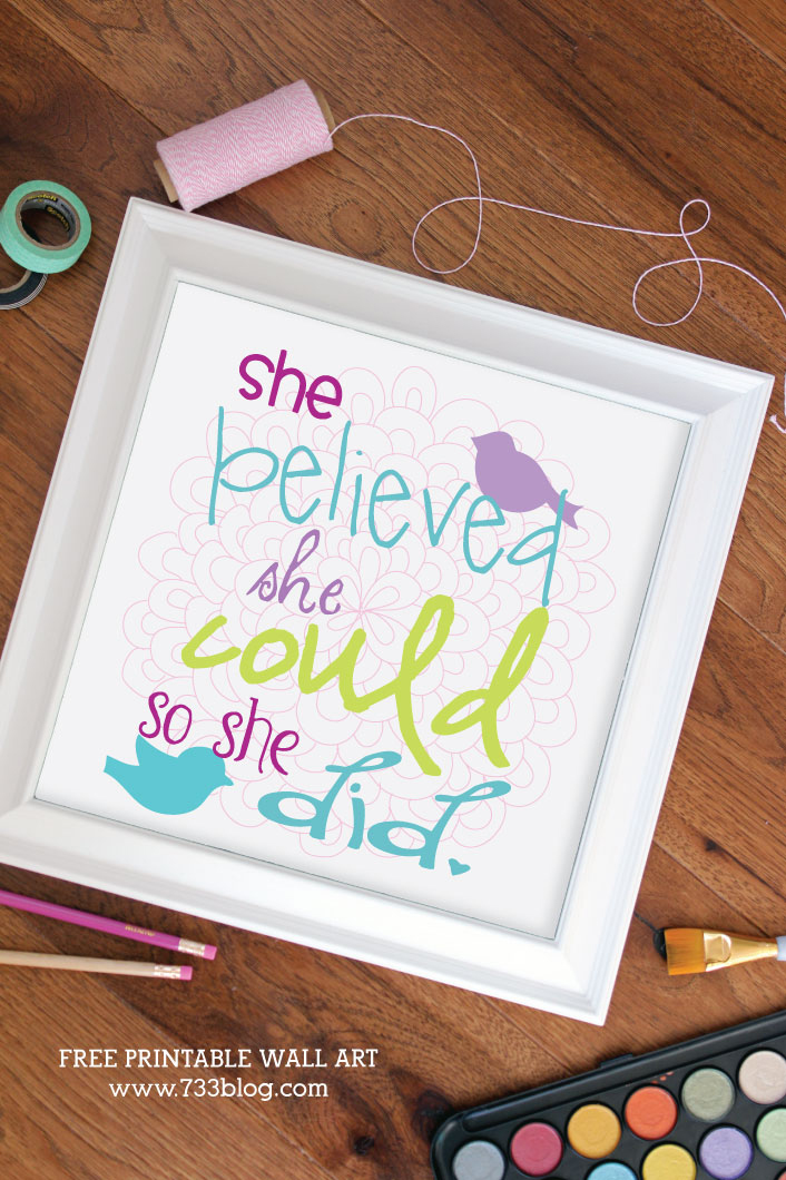 She Believed She Could So She Did Free Printable Art Print - Perfect for a nursery, little girls room or craft space!