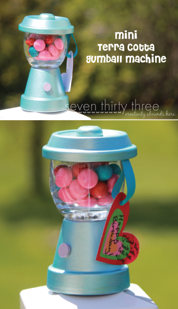 DIY Mini Gumball Machine using a terra cotta pot and a votive holder
