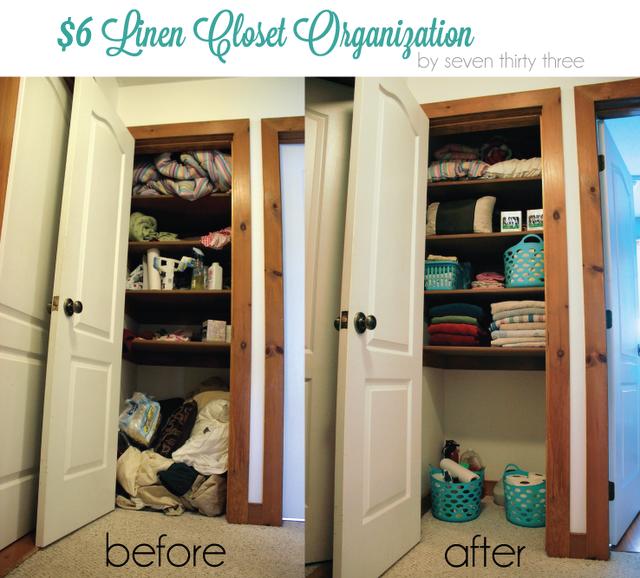 $6 Linen Closet Organization