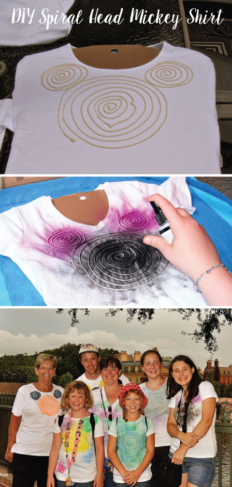 DIY Spiral Head Mickey Shirt - using just flour, water and fabric paint, make this fun shirt for your next Disney Trip!