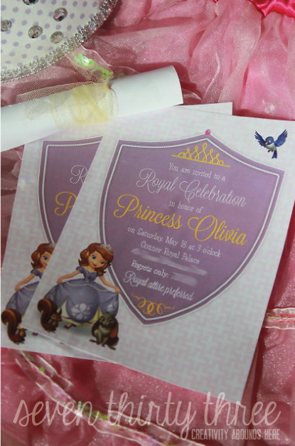 Sofia the first birthday party invites inspiration made simple for those that can be hand delivered i plan on rolling and tying them up with tulle filmwisefo