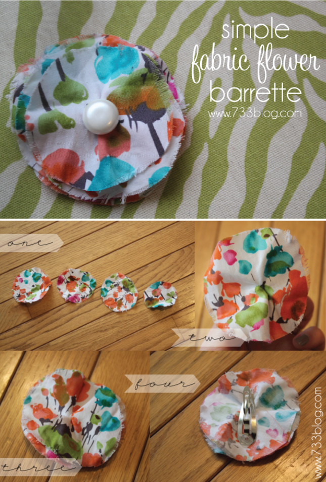 Simple Fabric Flower Barrette Tutorial
