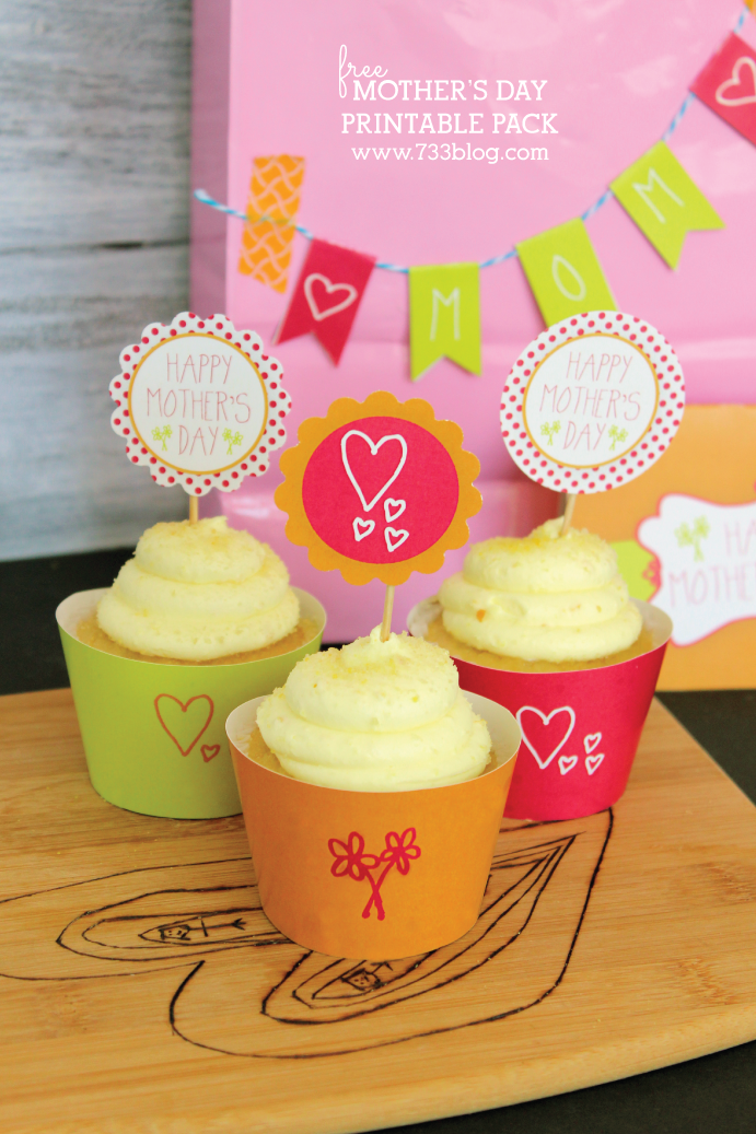 Mother's Day Printable Cupcake Wrapper and Toppers