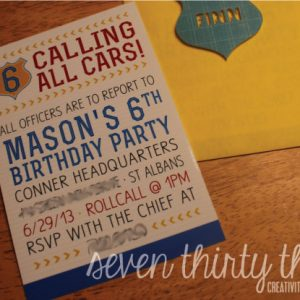 Calling All Cars! {Police Themed Invitation}