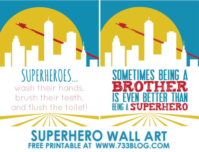 Superhero Bathroom Rules 11x14 Brother 8x10