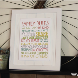 Family Rules Frameable Printable