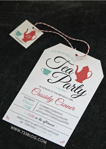 Free Printable Tea Party Birthday Invite