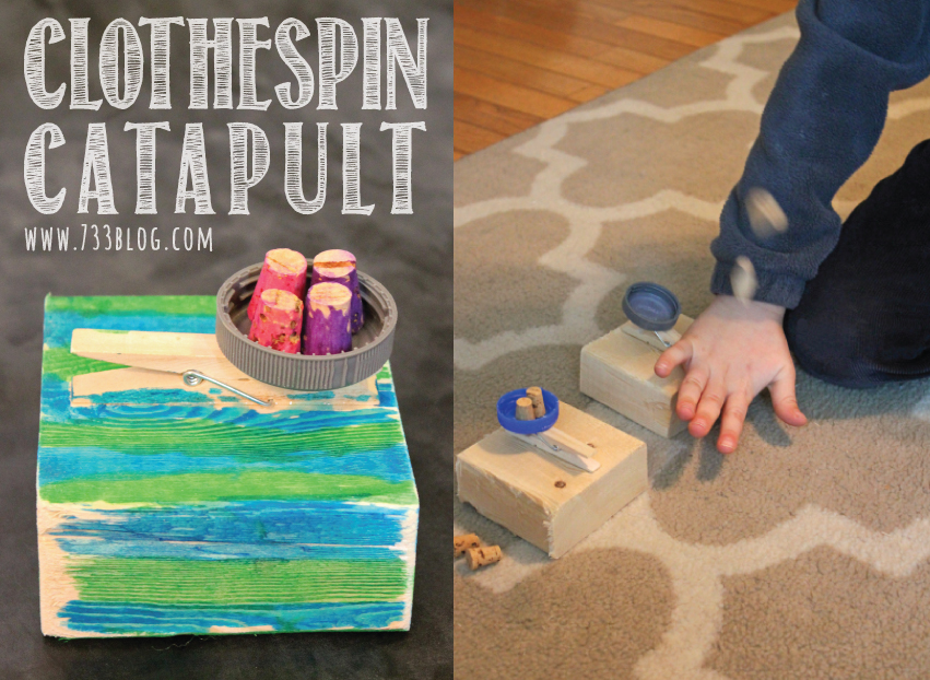 Boredom Buster: DIY Catapult made with a clothespin and a block of wood!