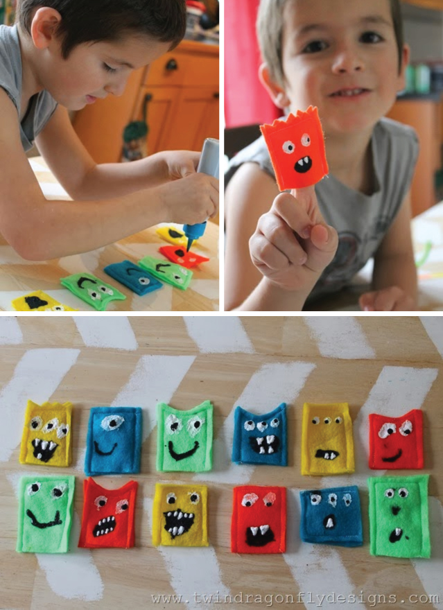 DIY Monster Finger Puppets