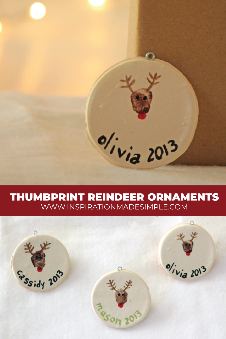 DIY Thumbprint Reindeer Ornaments with Clay and Acrylic Paint