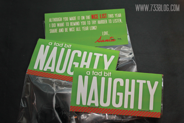 """A Tad Bit Naughty"" Printable Bag Topper - fun stocking stuffer idea!"