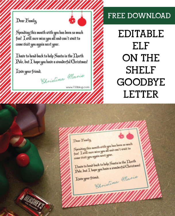 Elf On The Shelf Goodbye Letters Pdf