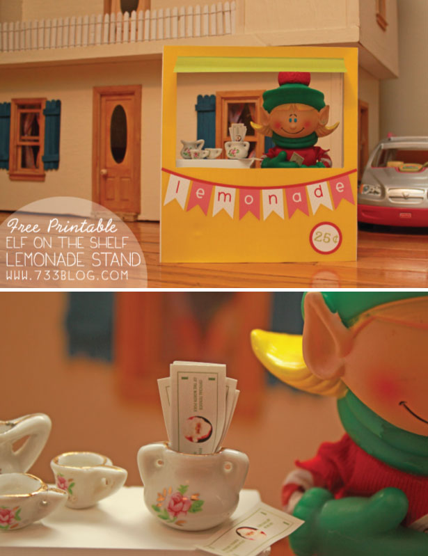 Elf on the Shelf Idea - Lemonade Stand - Same stand used by Sarah Michelle Gellar!