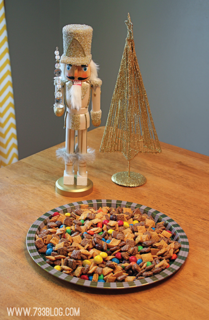 Chocolate Peanut Butter Chex Mix - Turn this into a holiday recipe by adding holiday color M&M's!