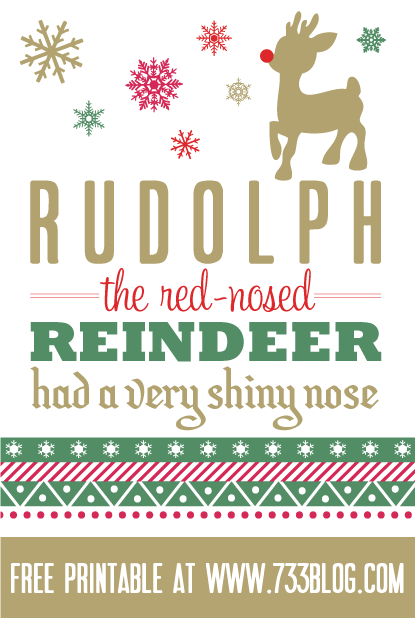 Rudolph the Red Nosed Reindeer Printable Wall Art