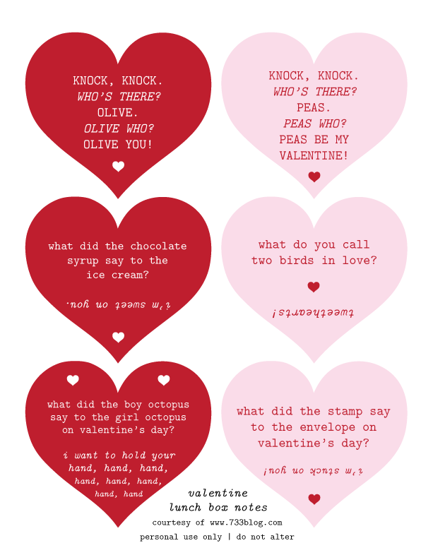 Valentine Lunch Jokes - Free Printable