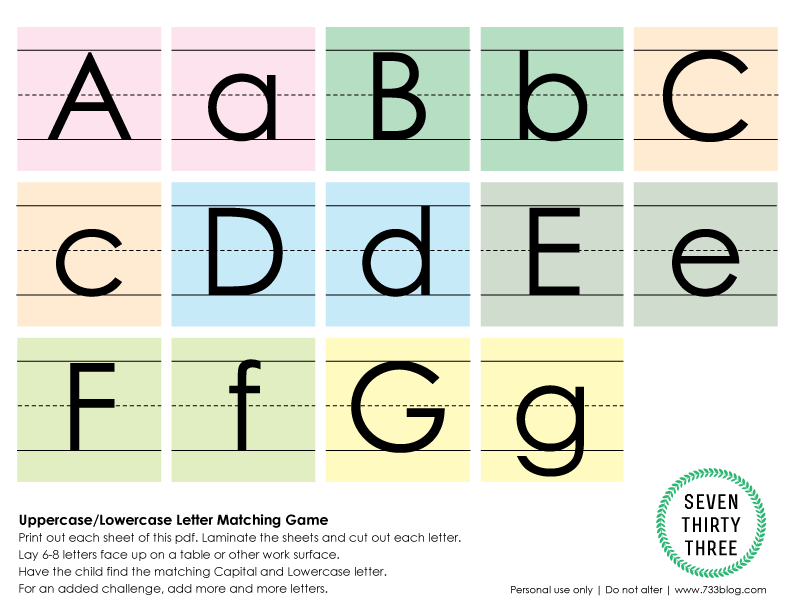 graphic regarding Upper and Lowercase Letters Printable identified as Uppercase/Lowercase Letter Matching Recreation - Enthusiasm Developed