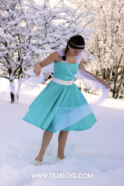 Simple Frozen Elsa Inspired Dress with Tulle Train