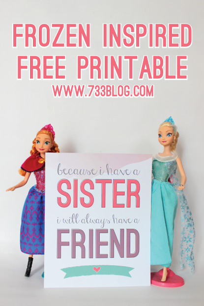 "FROZEN Inspired ""Sisters"" Free Printable"