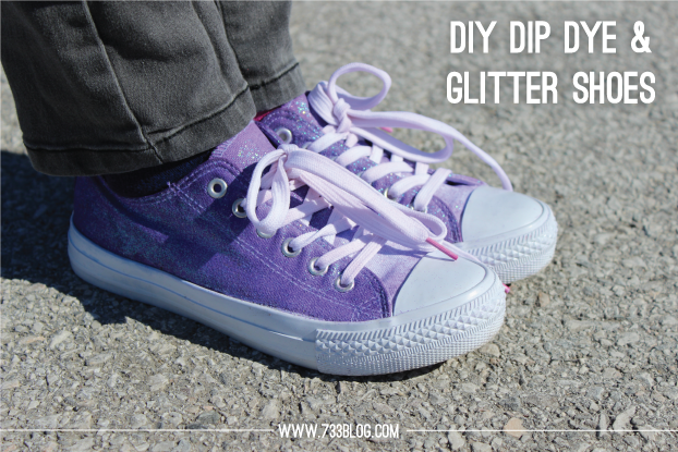DIY Dip Dyed & Glitter Shoes