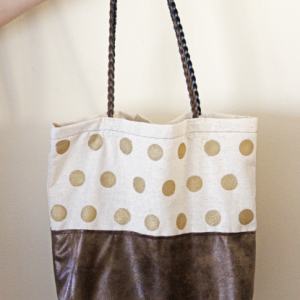 DIY Gold Polka Dot Tote Bag
