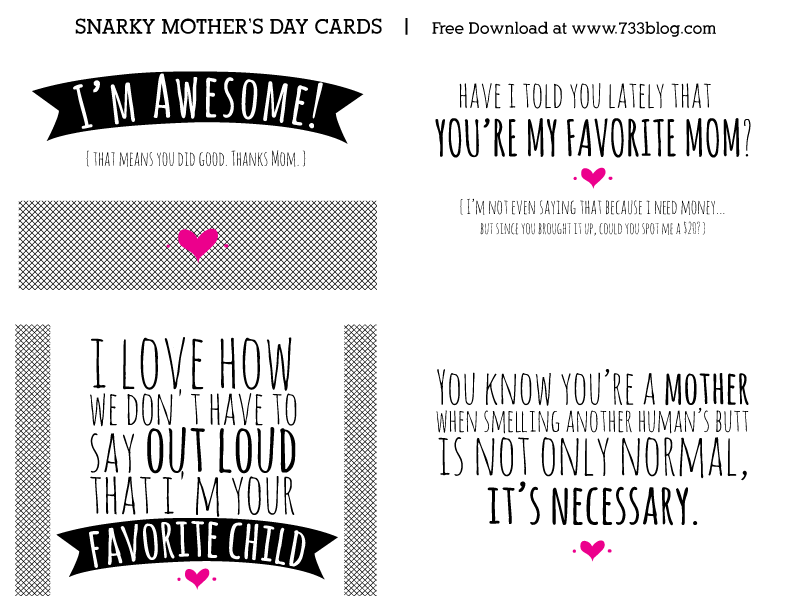 photo relating to Funny Printable Cards titled Amusing Printable Moms Working day Playing cards - Drive Intended Straightforward