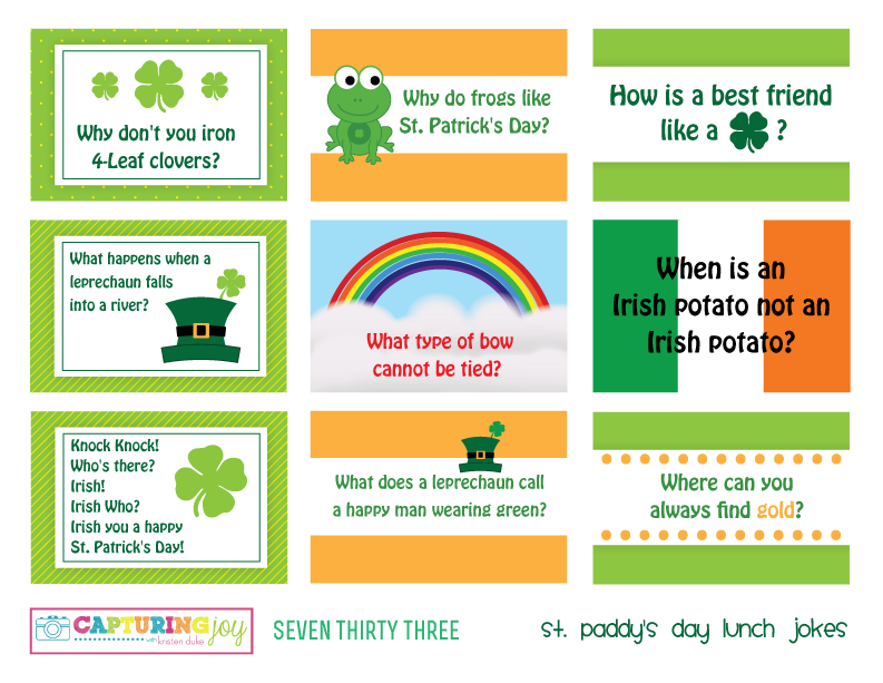 St Paddy's Day Lunch Jokes