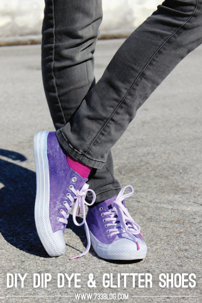 DIY American Dip Dyed & Sparkle Shoes