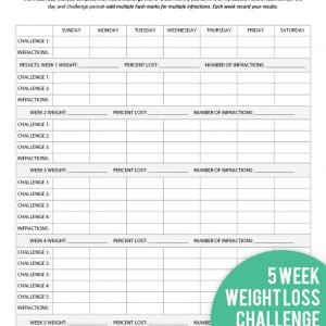 5 Week Weight Loss Challenge Printable Tracker