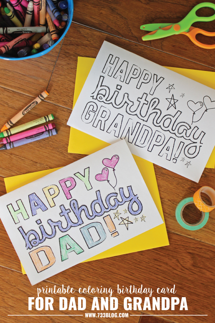 DAD/GRANDPA Printable Coloring Birthday Cards