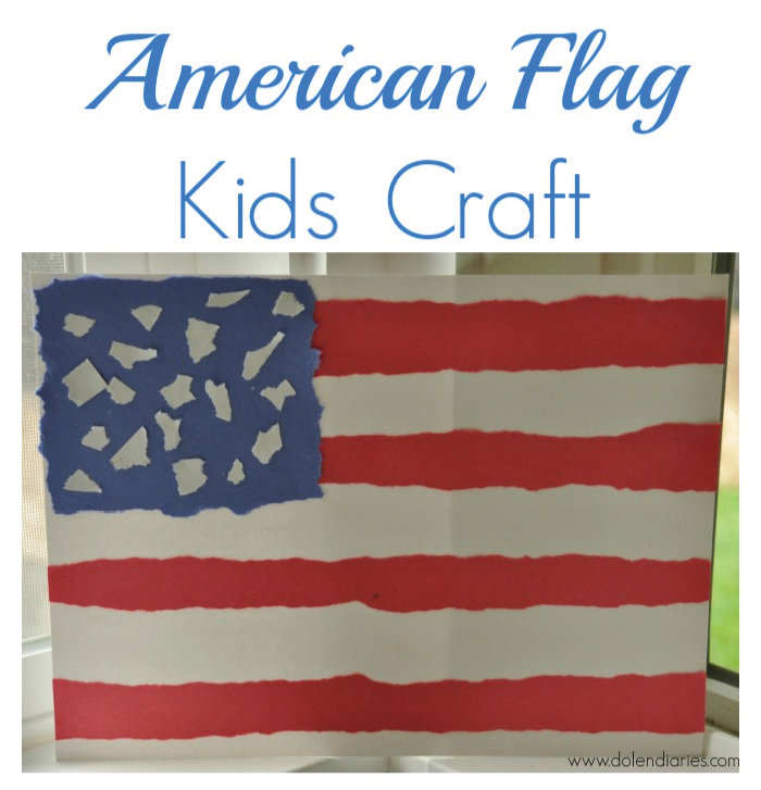 Torn Paper American Flag Kids Craft