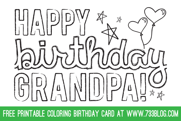 Dad Grandpa Printable Coloring Birthday Cards Inspiration Made Simple