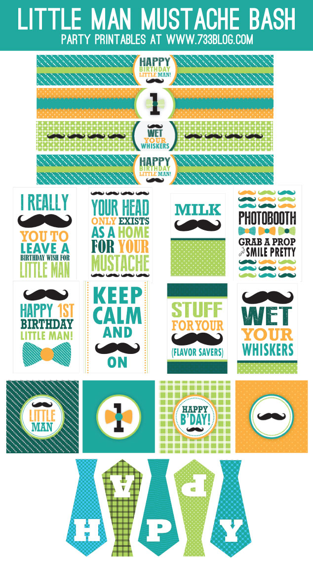 Little Man Mustache Bash First Birthday Party Printables