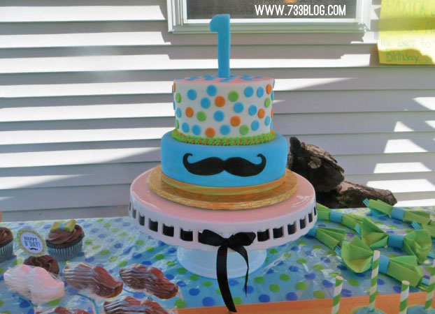 Little Man Mustache Bash First Birthday Cake
