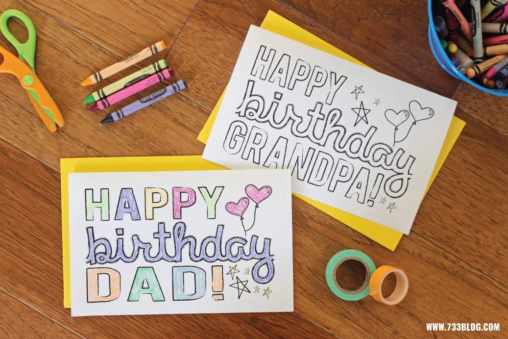 DAD/GRANDPA Printable Coloring Birthday Cards ...