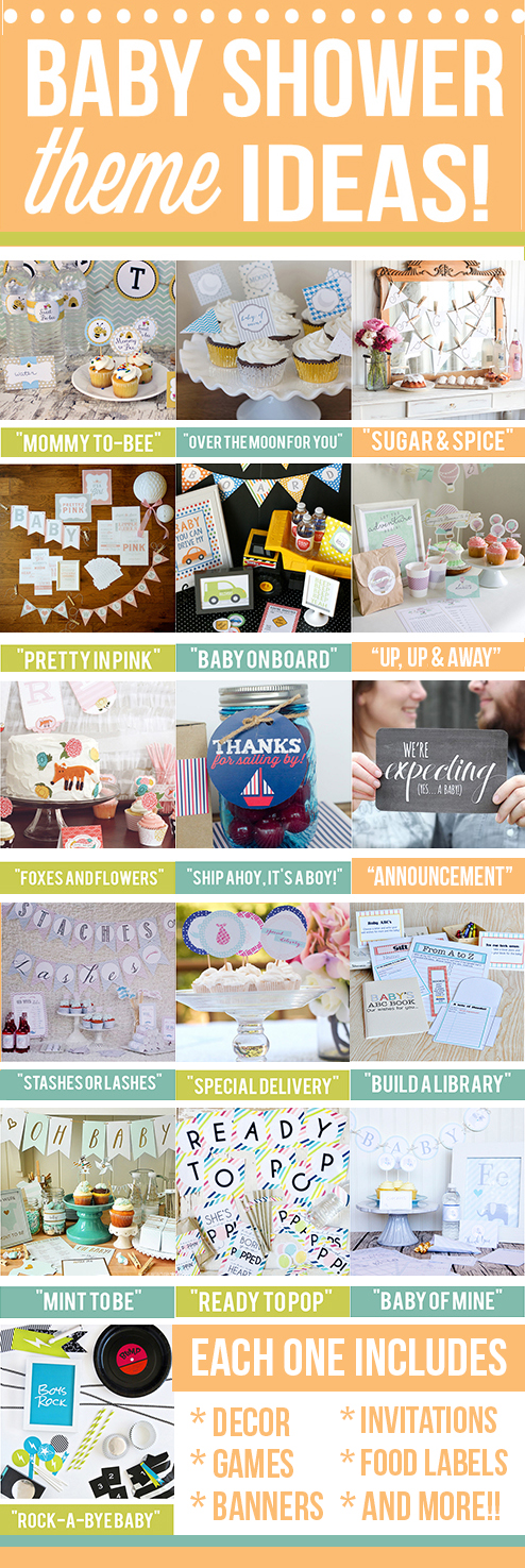 16 Themed Baby Shower Printable Packs - All set and ready for your use!