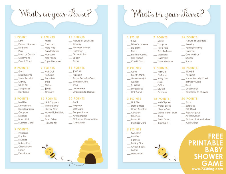 picture about Free Printable Baby Shower Games What's in Your Purse known as Whats within just your Purse? Youngster Shower Match