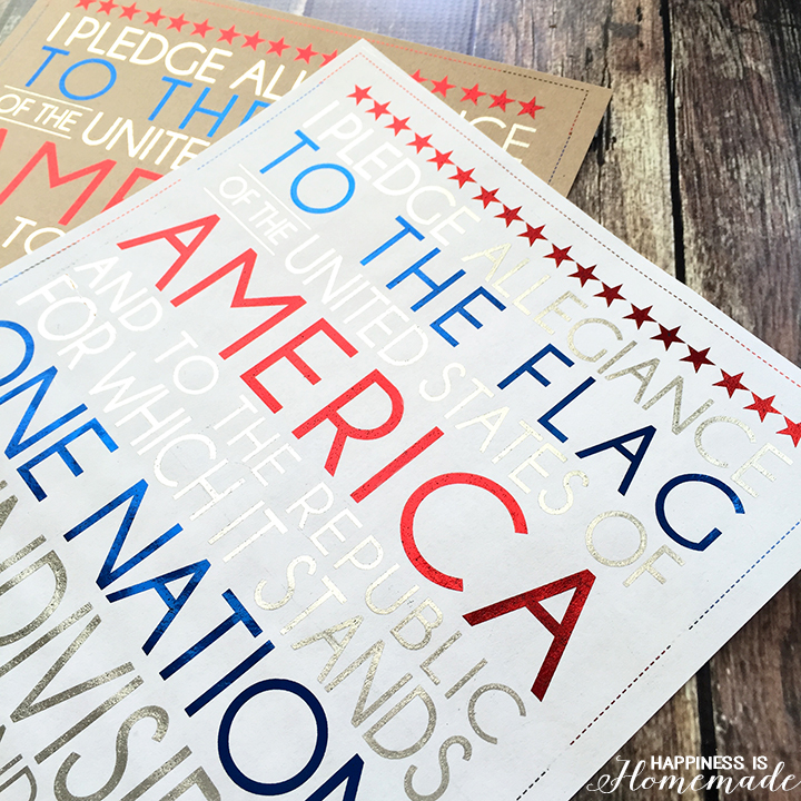 Foiled Pledge of Allegiance Printable
