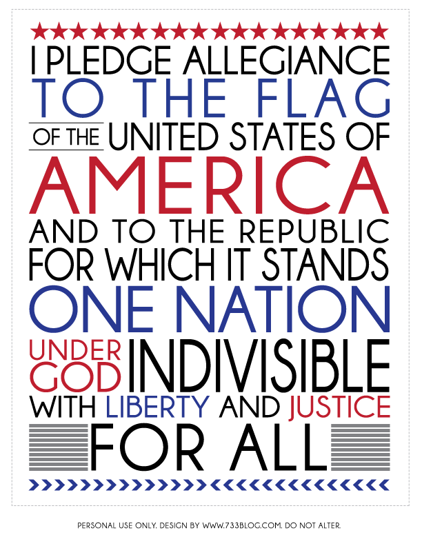 graphic about Pledge of Allegiance Printable titled Pledge of Allegiance Printable - Enthusiasm Produced Uncomplicated