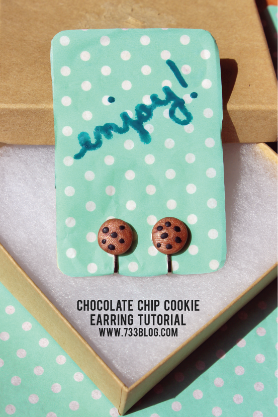 Chocolate Chip Cookie Clay Earrings