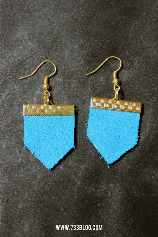 DIY Geometric Leather Earrings