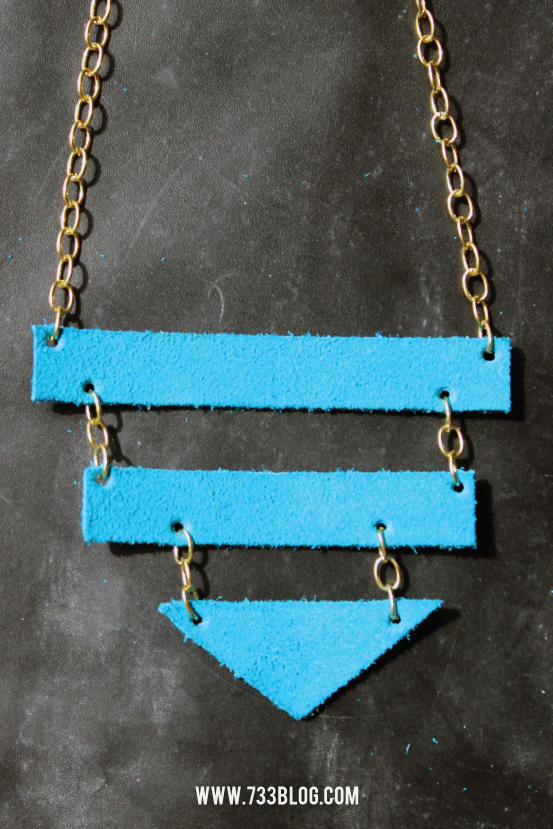 DIY Geometric Leather Necklace
