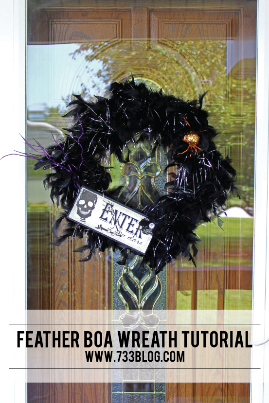 DIY Halloween Feather Boa Wreath
